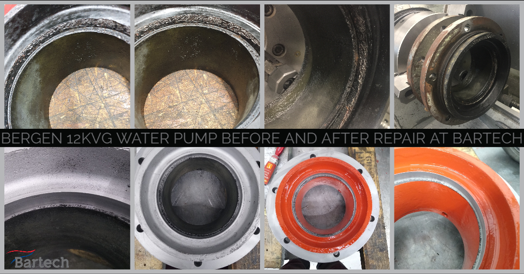Bergen 12KVG water pump before and after repair at Bartech