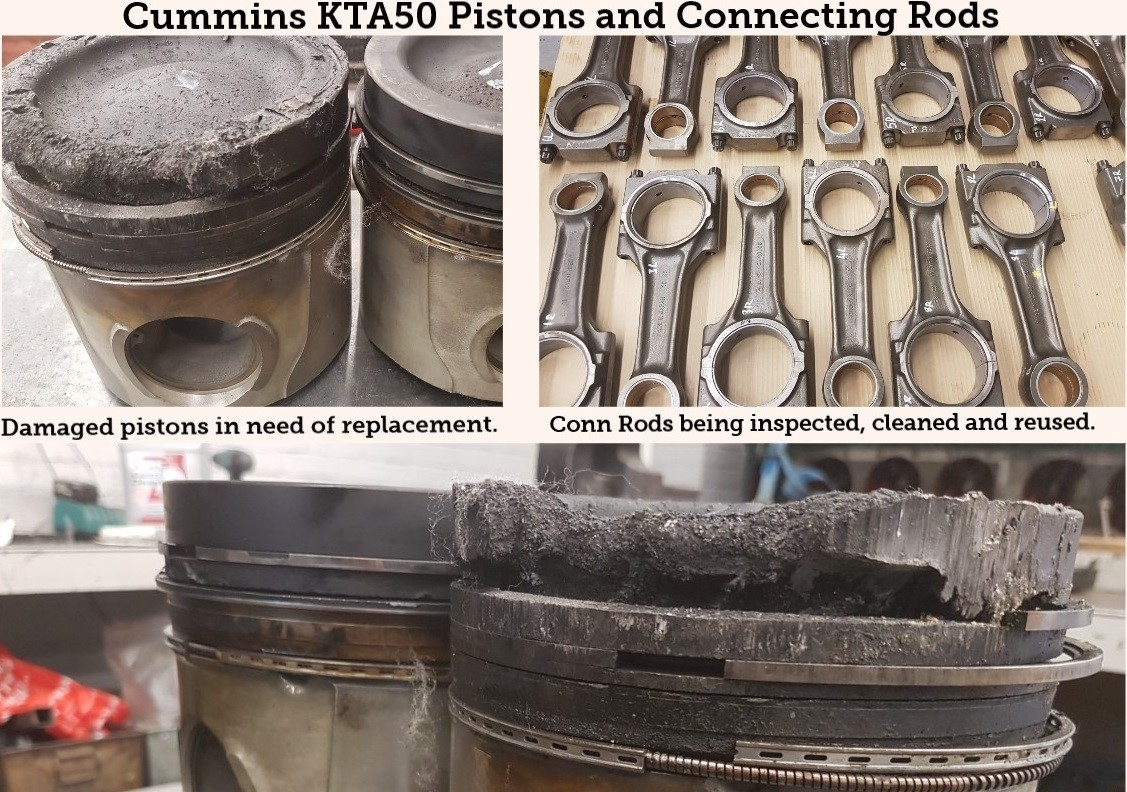 The damaged Cummins KTA50 pistons are now at Bartech, along with the connecting rods which can be re-used after inspection and clean. The pistons will be replaced.