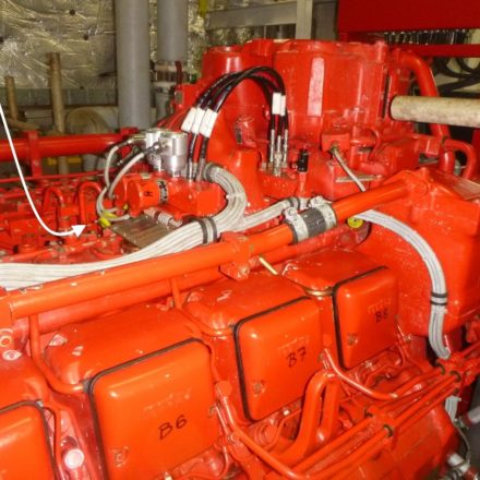 Fuel rack indicator location on MTU396 engine