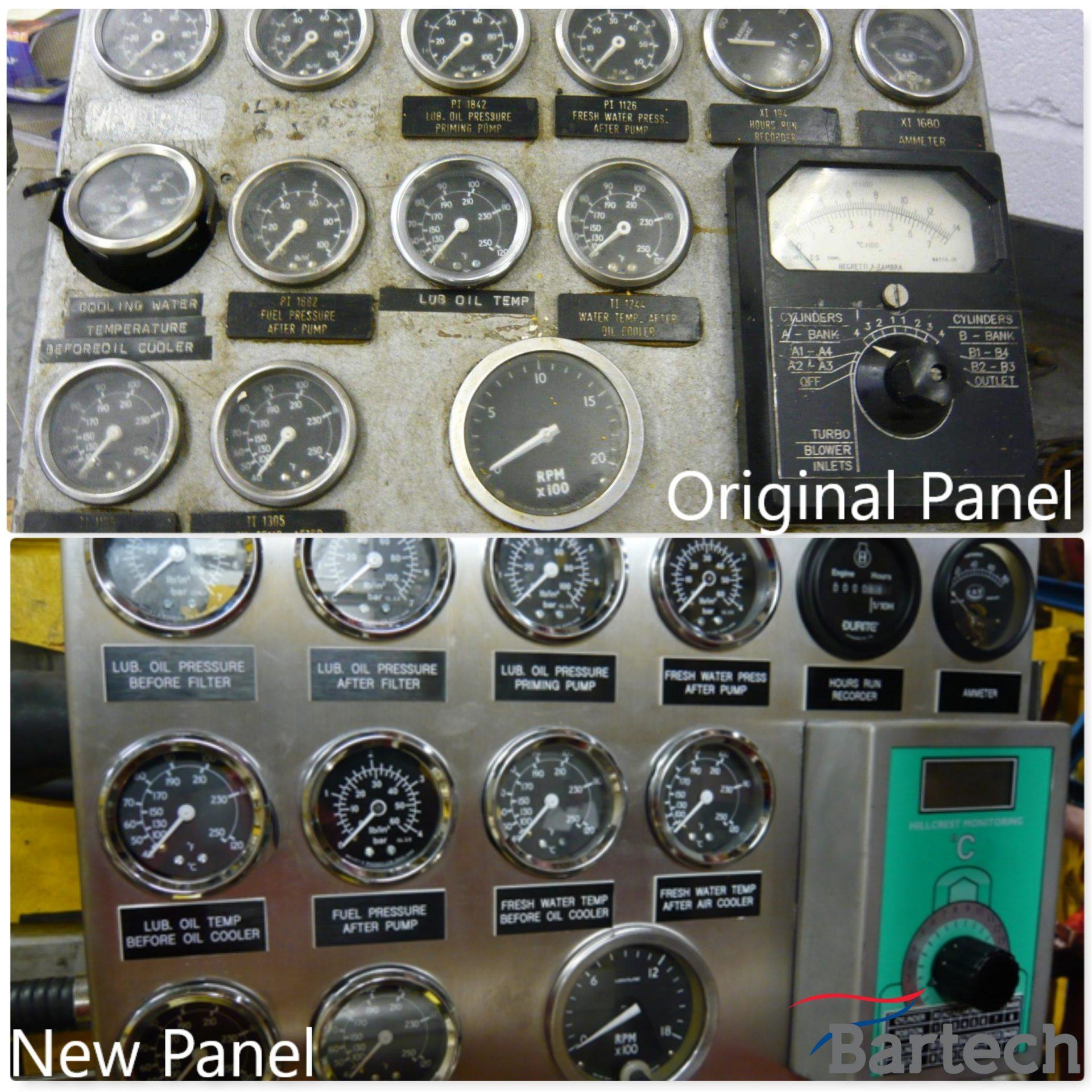 Original engine gauge panel and new Bartech made panel