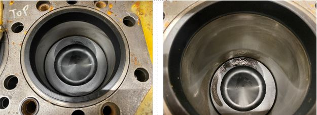 Piston looking damp and much cleaner than the rest.