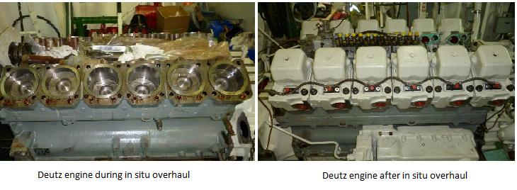 Deutz engine overhaul during and after in situ