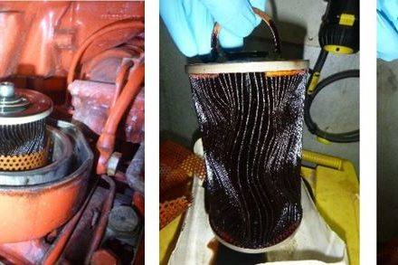 MTU 396 fuel filter inspection and deformation