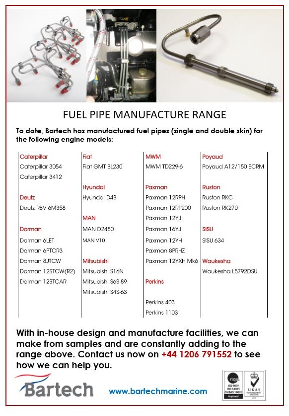 Bartech can manufacture fuel pipes for your engine. Contact us for pricing and lead-times.